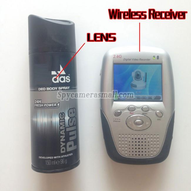2.4GHz Wireless Spy Camera Body Spray Bottle with Portable Receiver-100mw High Power Transmitter