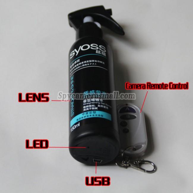 Camera espion gel laque pour les cheveux 1080P Camera espion Controle a distance 32G DVR