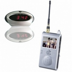 "Wirless Clock Camera DVR with A/V receiver - 1.2GHz Wireless Security System Covert Spy Camera w/ Clock Apperance & 2.4"" LCD Receiver"