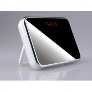 24hours Working Spy Clock Camera With Undetectable Lens Hidden Behind The Mirror 16GB Motion Activated(white)
